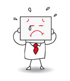 Sad businessman. Joe holds a sheet of paper on which is drawn a sad face. he is sad and he is crying , he is anonymous behind this sheet of paper stock illustration