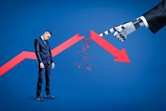 A sad businessman looking down with a broken red arrow behind and a big robotic hand in suit pointing at him. royalty free stock photo