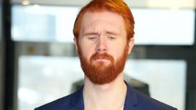 Sad Businessman with Red Hair, Beard stock footage