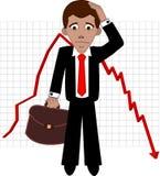 Sad businessman. Shares fall, sad broker  illustration Stock Photo