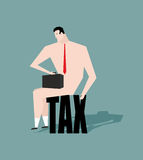 Sad businessman sitting on tax. depressive Naked man with a brie Stock Photo