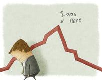 Sad businessman standing near graphic Stock Photos
