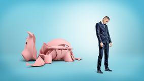 A sad businessman stands turned away from a giant broken piggy bank. Stock Photos