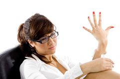 Sad businesswoman with hand gesture Royalty Free Stock Image