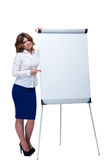 Sad businesswoman pointing finger on flipchart Stock Photo
