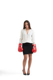 Sad businesswoman with red gloves Royalty Free Stock Photos