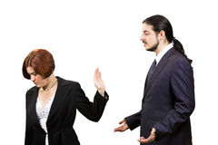 Sad Businesswoman Refuse to Listen Businessman. Business Misunderstanding Concept - Blond Sad Businesswoman Refuse to Listen her Businessman Partner, Isolated on Royalty Free Stock Photography
