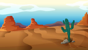 A sad cactus. Illustration of a sad cactus in the middle of nowhere Royalty Free Stock Photo