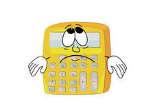 Sad calculator cartoon royalty free illustration