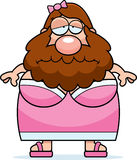 Sad Cartoon Bearded Lady Royalty Free Stock Images