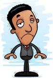 Sad Cartoon Black Businessman. A cartoon illustration of a black businessman looking sad Stock Photography