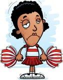 Sad Cartoon Black Woman Cheerleader. A cartoon illustration of a black woman cheerleader looking sad stock illustration