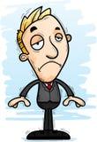 Sad Cartoon Businessman. A cartoon illustration of a businessman looking sad Stock Photo