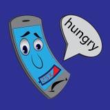 Sad cartoon cell phone battery 25%. Stock Photo