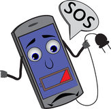 Sad cartoon cellphone batteries with 25% looking for power outle Royalty Free Stock Image