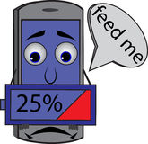Sad cartoon cellphone holding battery 25% vector illustration