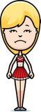 Sad Cartoon Cheerleader. A cartoon illustration of a teen cheerleader girl looking sad vector illustration