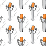 Sad cartoon cigarette with raised hand seamless Stock Photo