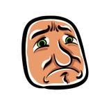 Sad cartoon face, vector illustration Stock Image