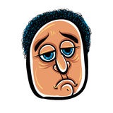 Sad cartoon face, vector illustration. Royalty Free Stock Photo