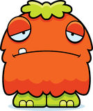 Sad Cartoon Fluffy Monster Royalty Free Stock Images