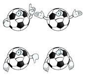 Sad cartoon football set Royalty Free Stock Photography