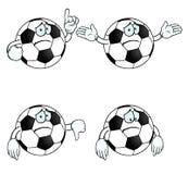 Sad cartoon football set. Collection of sad cartoon footballs with various gestures Royalty Free Stock Photography