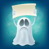 Sad cartoon ghost with banner. Halloween party design element Stock Photo