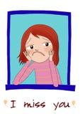 A sad cartoon girl Stock Images