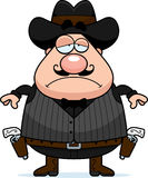 Sad Cartoon Gunfighter. A cartoon illustration of a gunfighter looking sad Royalty Free Stock Images