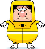 Sad Cartoon Hazmat. A cartoon illustration of a man in a hazmat suit looking sad Royalty Free Stock Image