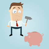 Sad cartoon man with piggy bank Stock Photography
