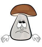 Sad cartoon mushroom Royalty Free Stock Image