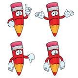 Sad cartoon pencils set. Collection of sad cartoon pencils with various gestures Stock Photography