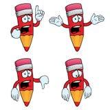 Sad cartoon pencils set. Collection of sad cartoon pencils with various gestures Royalty Free Stock Images