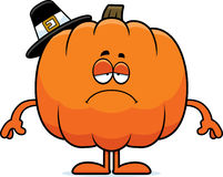 Sad Cartoon Pumpkin Pilgrim Stock Photography