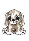 Sad cartoon puppy stock illustration