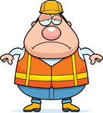 Sad Cartoon Road Worker Stock Photography