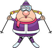 Sad Cartoon Skier Royalty Free Stock Images