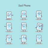 Sad cartoon smart phone vector illustration