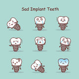 Sad cartoon tooth implant set Royalty Free Stock Photos