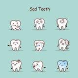 Sad cartoon tooth set Royalty Free Stock Images