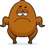 Sad Cartoon Turkey. A cartoon illustration of a Thanksgiving turkey looking sad Royalty Free Stock Images