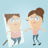 Sad Cartoon Woman Looks In The Mirror And Thinks She S Fat Stock Photo