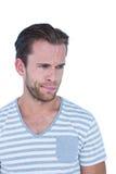 Sad casual man looking away Stock Image