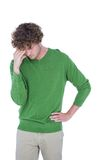 Sad casual man standing in front of camera Royalty Free Stock Photography