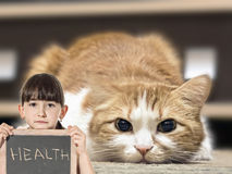 Sad cat and girl with chalkboard Royalty Free Stock Photo