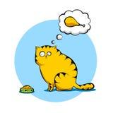 Sad Cat. Illustration of sad cat sitting at the bowl Stock Photo
