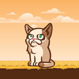 Sad cat sitting on the ground, illustration Royalty Free Stock Photo