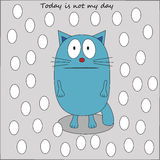 Sad cat in the snow vector Royalty Free Stock Images
